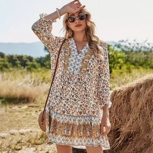 WILLOW- Button Front Floral Print Dress
